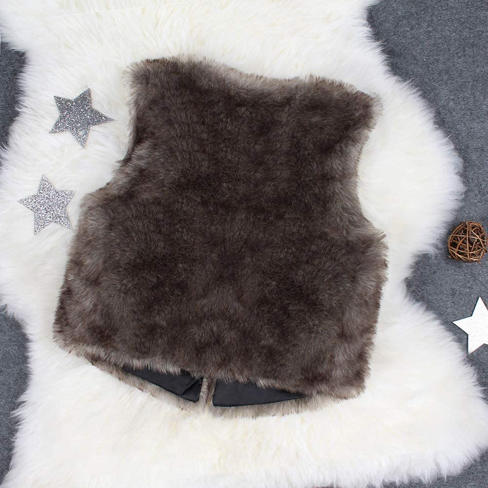Winter Girl Waistcoat,Fineser Lovely Toddler Kids Girl Sleeveless Solid Warm Faux Fur Waistcoat Thick Coat Outwear Clothes