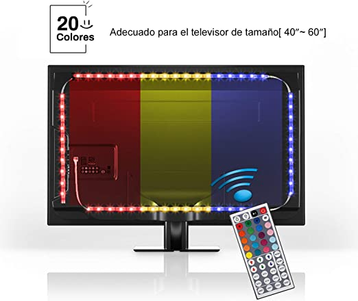 YISSVIC Iluminación Led para Televisión Tiras de Led TV Luces Led para TV 78.7in / 2m con Mando a Distancia y 20 Colores y 8 Modos Dinámicos: Amazon.es: Iluminación