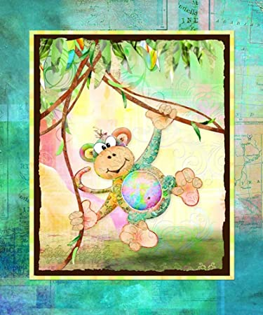 The Kids Room by Stupell Monkey in The Jungle Rectangle Wall Plaque