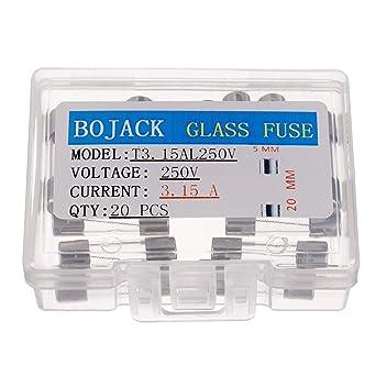 paquete de 20 piezas BOJACK T15A250V 6x30 mm 15 A 250 V Fusibles de fundici/ón lenta 15 amp 250 Volt 0.24 x 1.18 Pulgadas Fusibles de retardo de tiempo de tubo de vidrio