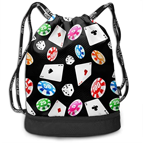 Amazon.com: Poker and Dice Drawstring Bag Rucksack Shoulder ...