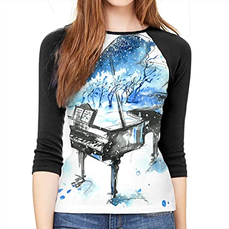FUNKYTSHIT Watercolor Piano Navy Blue Womens Tunic Tops Half Sleeves Tees