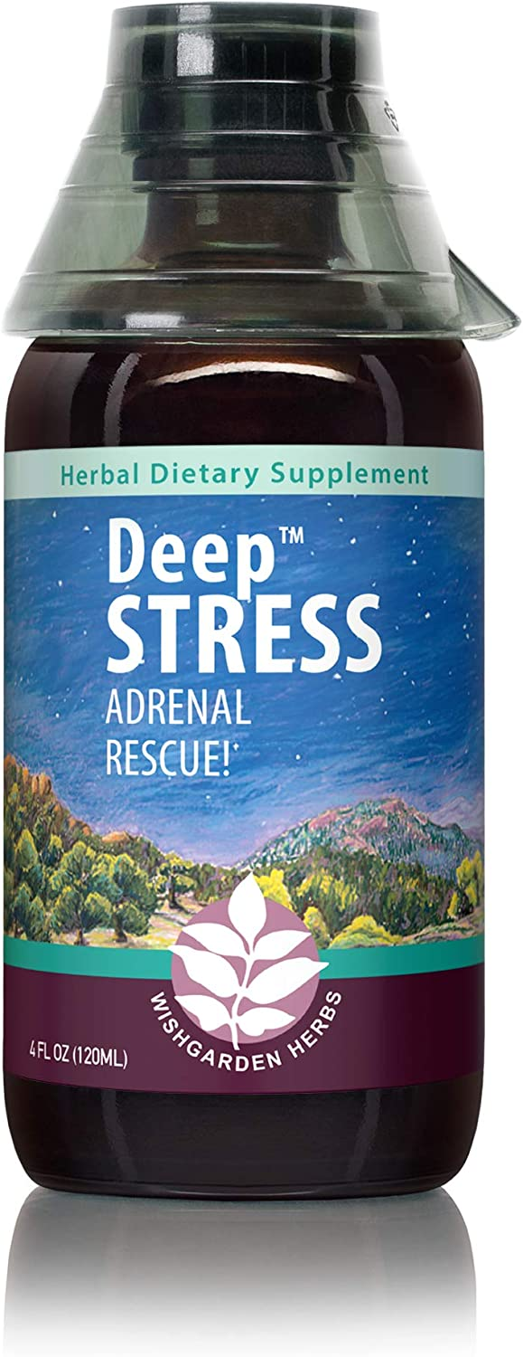 WishGarden Herbs Deep Stress - Certified Organic Stress Relief Herbal Tincture, Homeopathic Liquid Adrenal Support Drops, Easy to Absorb and Fast Acting, 4 Ounce