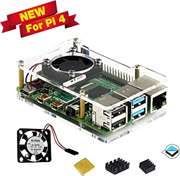 Clear 5V Cooling Fan Computer For Raspberry Pi 4 Model Acrylic Casing Set Parts