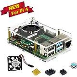 Raspberry Pi 4 ケース冷却ファン付きヒートシンクラズベリーパイ4用(透明な)