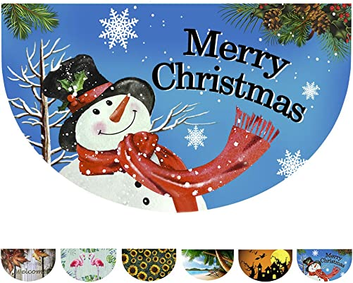 Half Round Rubber Door Mat, Decorative Indoor Outdoor Christmas Doormat Non Slip Front Door Mat, Easy to Clean Low Profile Mat for Entry Patio Garage High Traffic Areas, 17.7 x 29.5 Xmas Doormat
