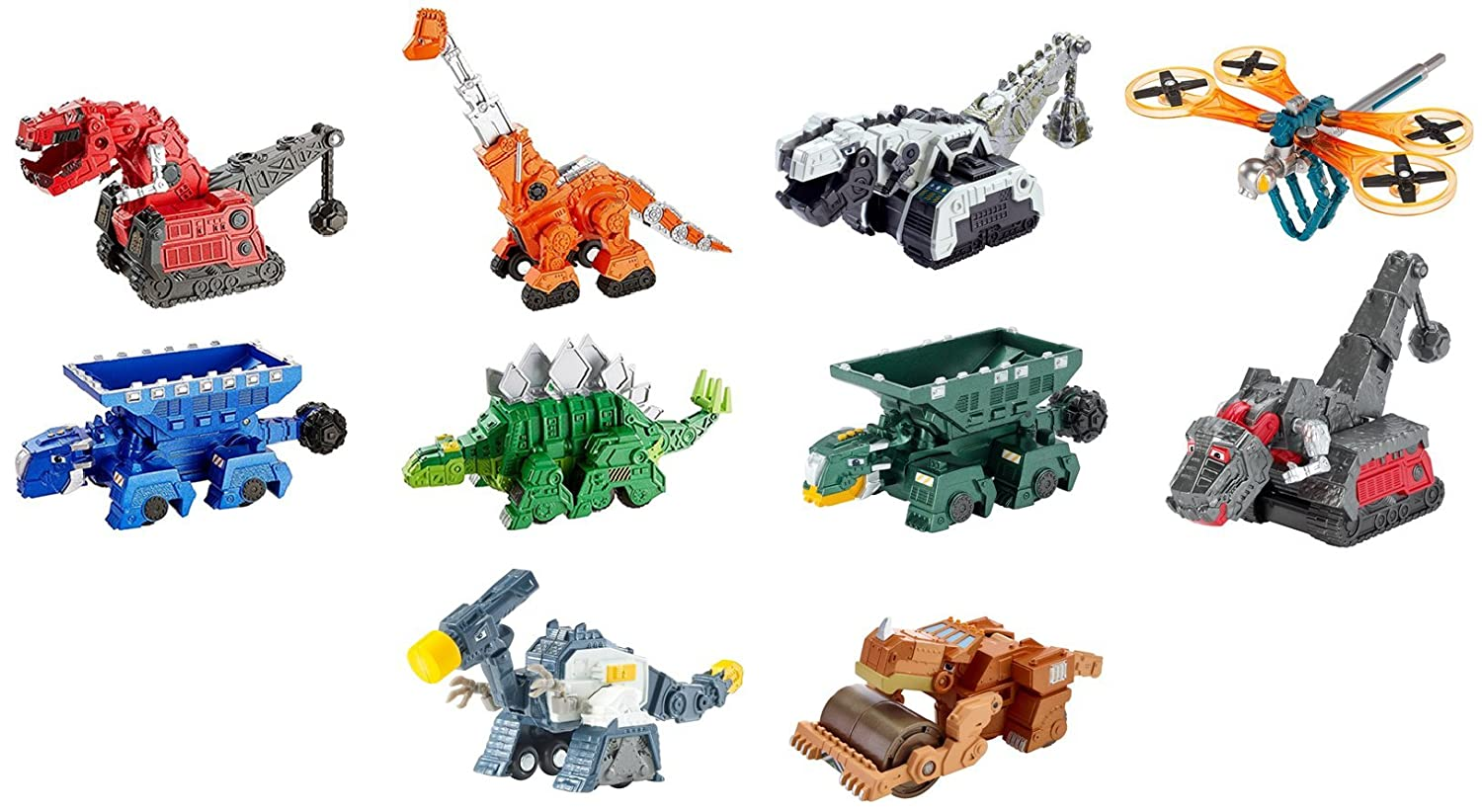 Dinotrux Diecast 10 Pack Ty Rux Scoot Garby Skya Dragonflopter Ton Ton Pounder Rollodon Claw Tail D Structs Battle Armor Ty Rux