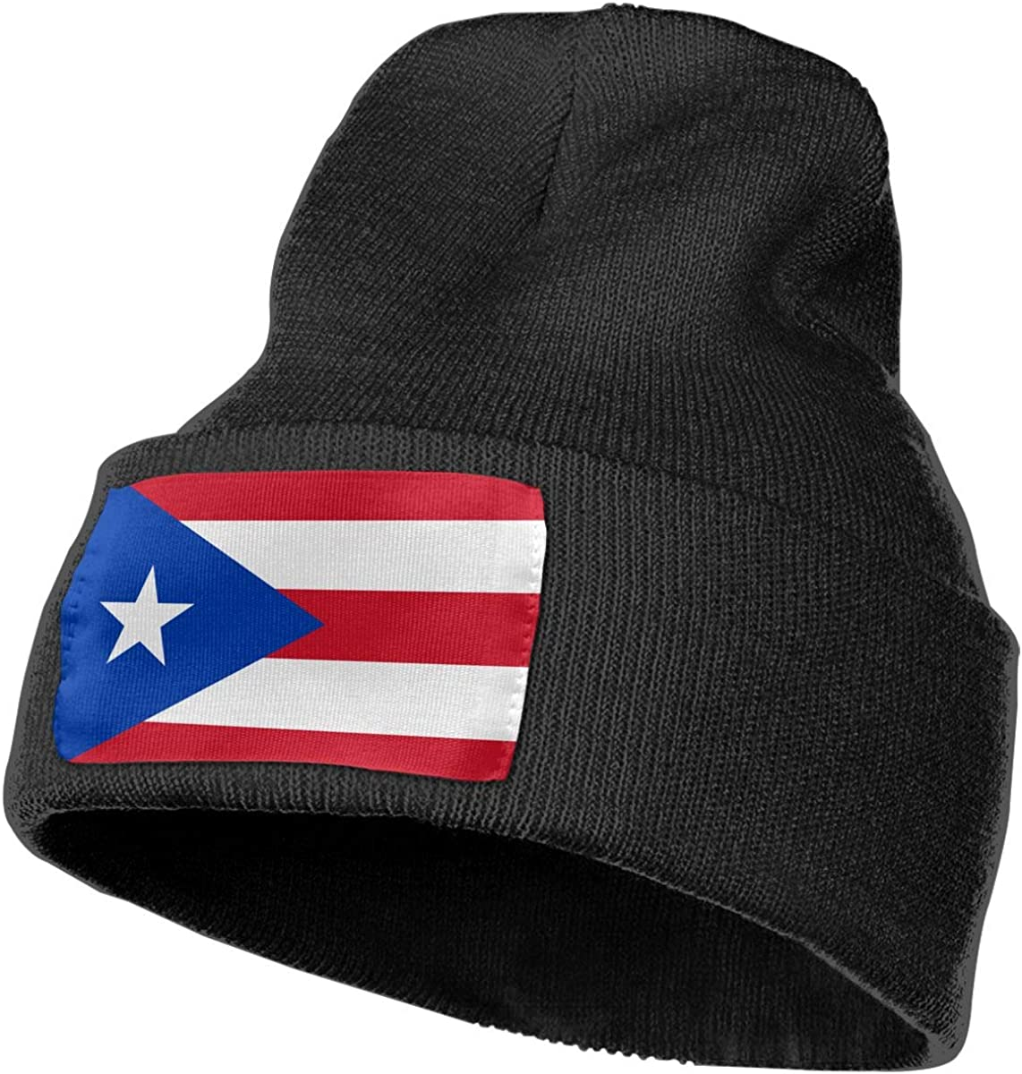 Unisex Puerto Rico Flag Outdoor Stretch Knit Beanies Hat Soft Winter Skull Caps