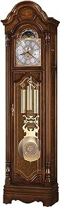 Howard Miller Redmond Floor Clock 660-272 – Hampton Cherry Finish, Brass Finished Pendulum, Vertical Home Decor, Nighttime Chime Shut-Off, Cable-Driven Single-Chime Movement