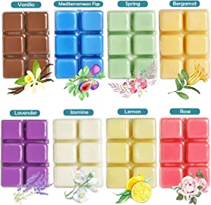 YCYH Scented Wax Melts -Set of 8 (2.5 oz) Assorted Wax Warmer Cubes/Tarts - Jasmine, Rose, Bergamot, Fig, Vanilla, Lemon, Spring, Lavender