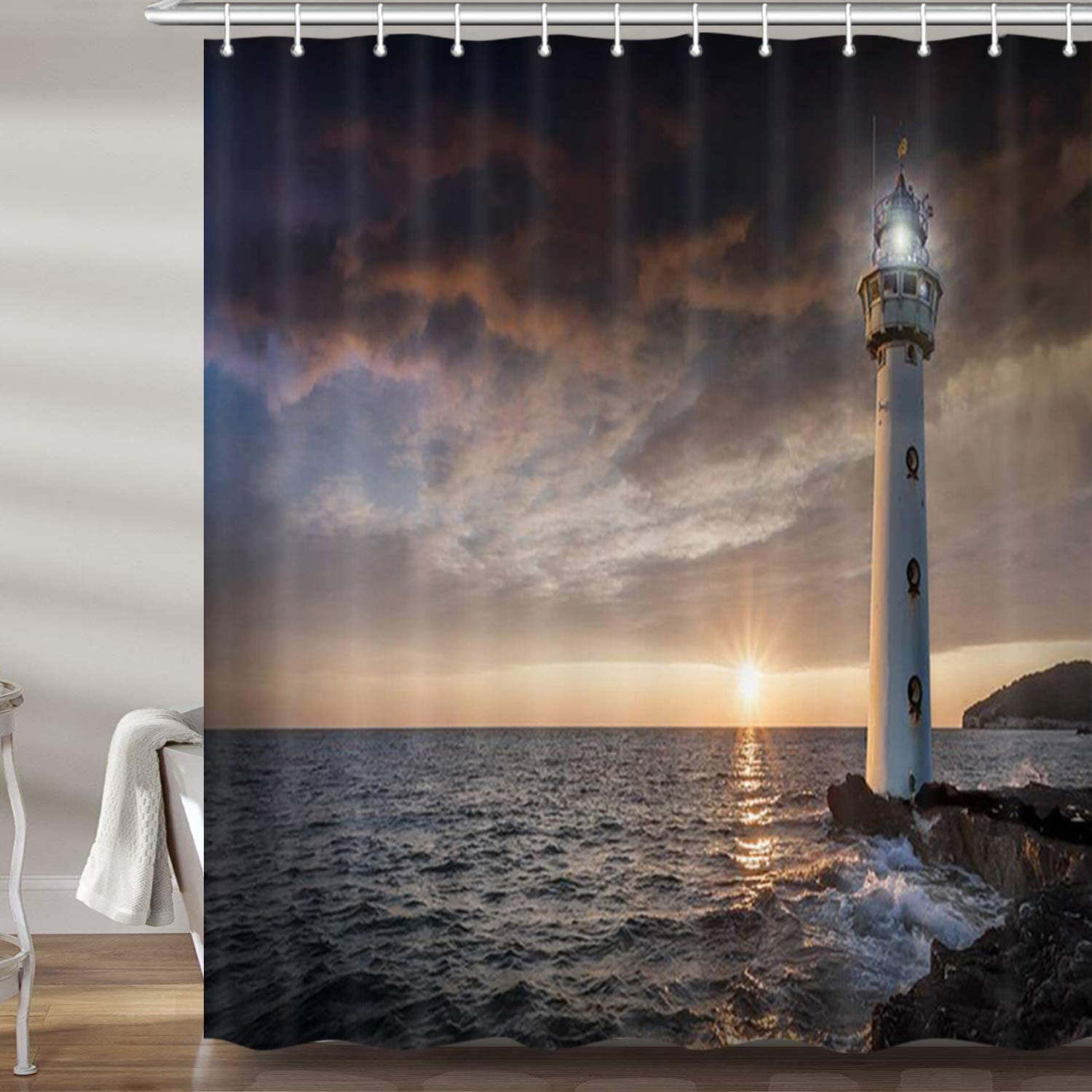 Lighthouse Light With Ocean Bathroom Fabric Shower Curtain With Hooks 71inch