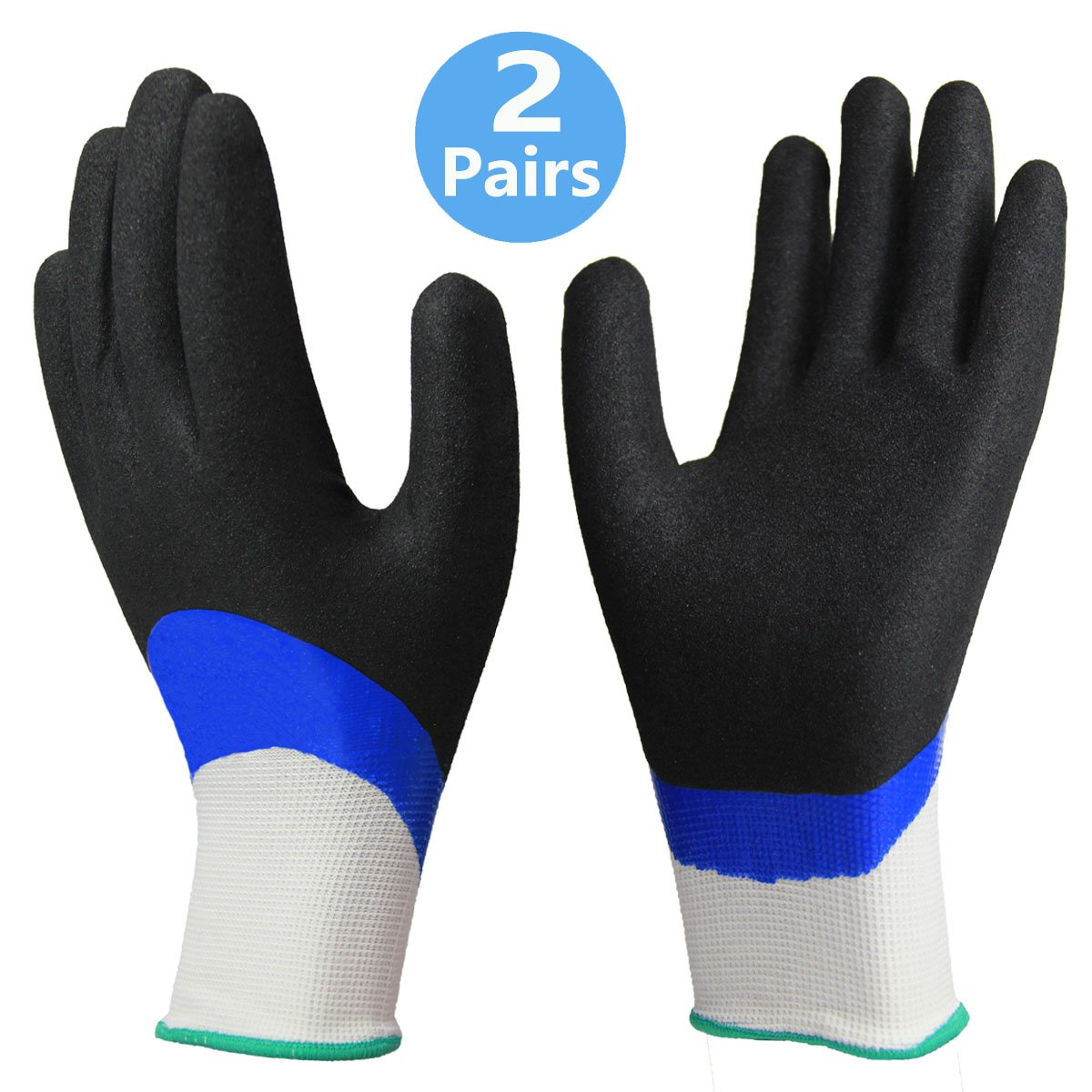 Waterproof Work Gloves 2 Pairs, Double Latex Coated Grip and Comfortable, Improved Dexterity for Outdoor Garden Watering Car Cleaning Multipurpose -2 Pack