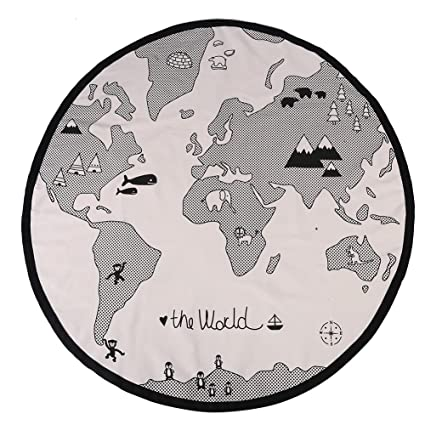 135cm Round Playing Mat World Map Floor Crawling Pad for Baby Kid ...