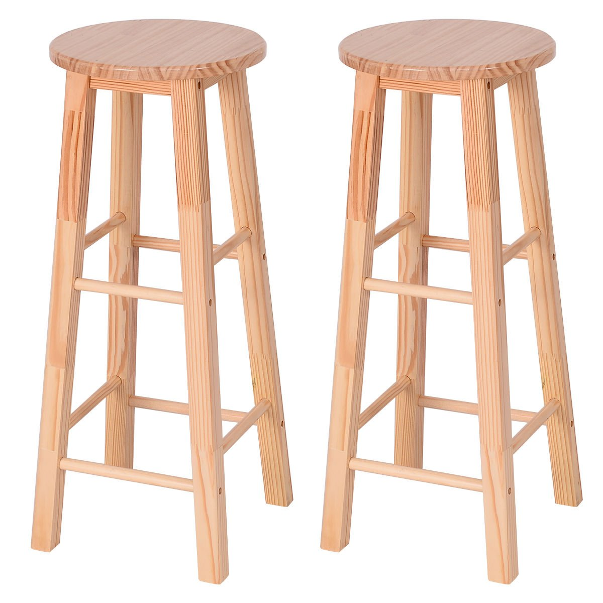 Costway 29-Inch Pine Wood Bistro Square Leg Bar Stool, Natural Finish, Set of 2