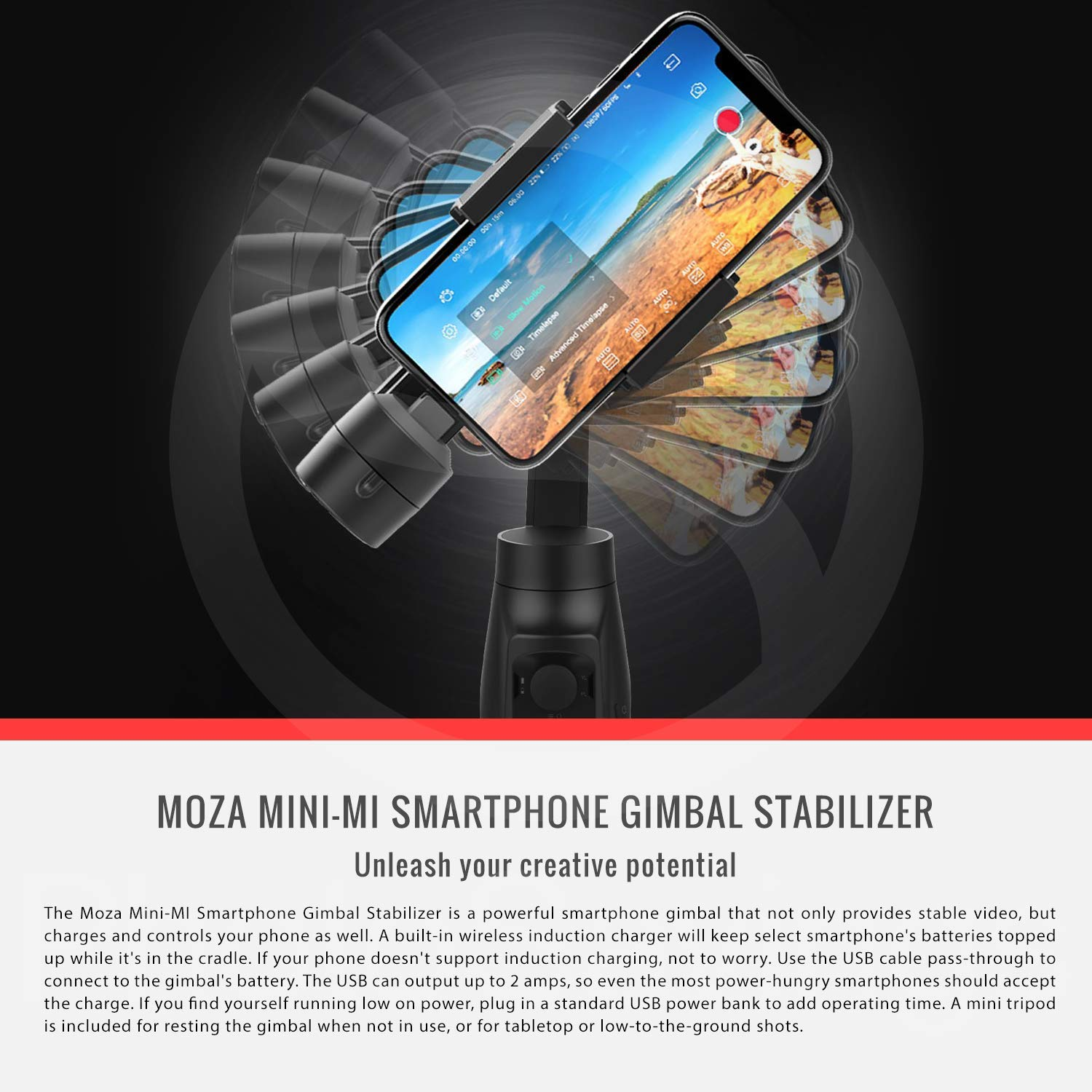 Moza Mini-MI 3-Axis Smartphone Gimbal Stabilizer with Lavalier Microphone Accessory Bundle by MOZA (Image #3)