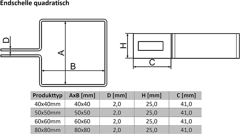 40 x 40 mm, 50 x 50 mm, 60 x 60 mm, 80 x 80 mm Juego de 3 abrazaderas cuadradas