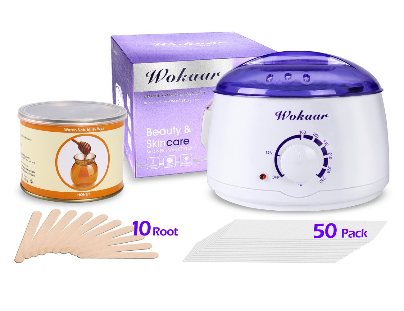 Wax Warmer Electric Heater Hair Removal Waxing Kit With Honey Wax +50 Depilatory Wax Strips Paper + 10 Wax Applicator Sticks