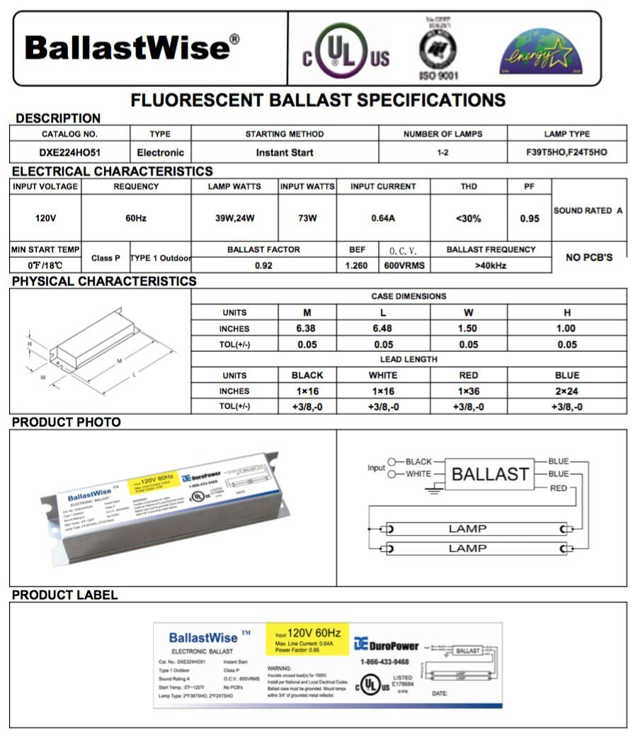 Ballastwise T5 Grow Light Ballast With Wires Dxe224ho51 For 2 Ho 39w Wiring Diagram F24t5ho Bulbs Plant Growing Fixtures