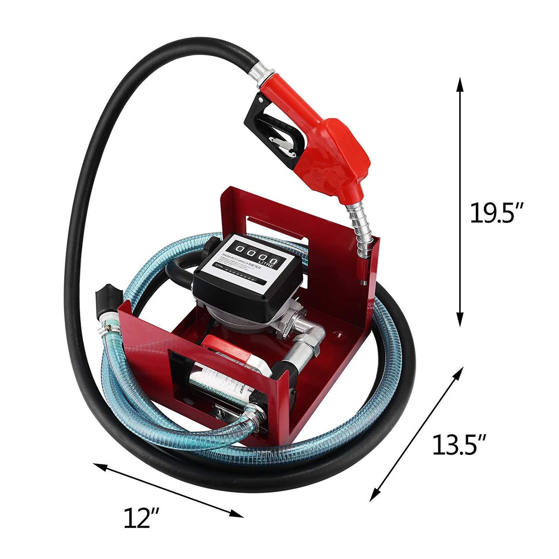 SucceBuy 300W Pompe /à Fuel ou Gasoil Bio Autoaspirante 40 L//min Mobile Pistolet Auto