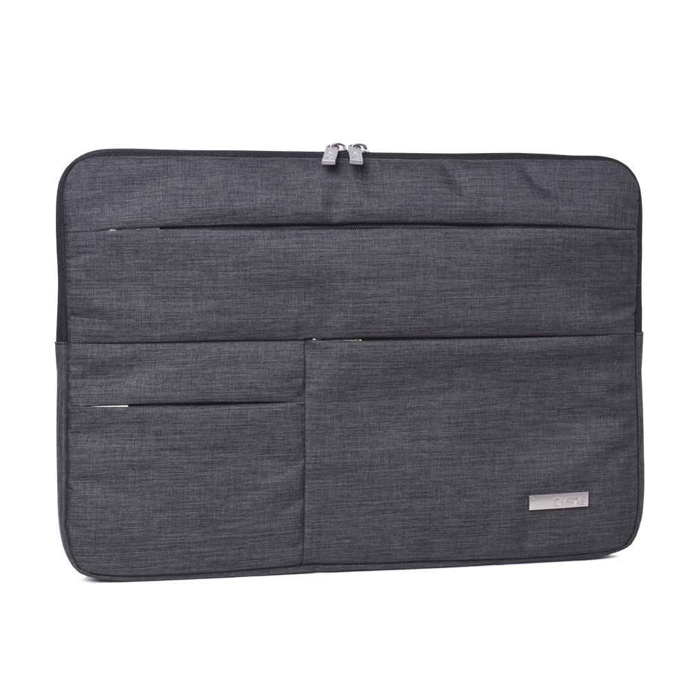 Feisman Laptop Sleeve 14 Inch Tablet Bag, Polyester waterproof Laptop Sleeve Case Cover for 14 Inch Notebook Computer Ultrabook Briefcase with Front Zipper Pockets-Dark Grey