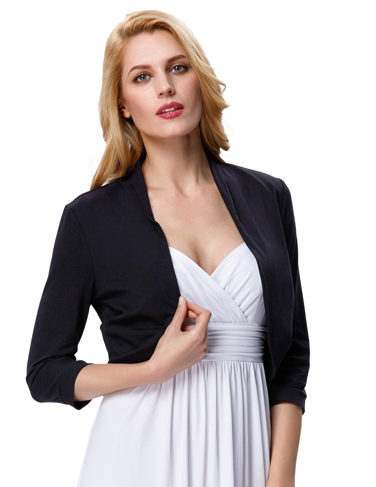 Spring Black Cropped Wedding Bolero Jacket Plain(XL, Black 512-1) by JS Fashion Vintage Dress (Image #4)