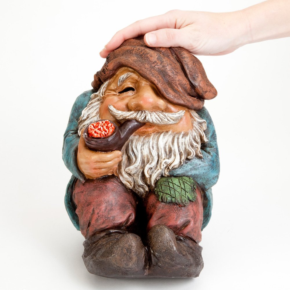 Garden Gnome Funny Sitting Gnome Garden Sculpture Bits and Pieces Hand Painted Durable Weather Resistant Polyresin Sculpture Outdoor Garden Statue