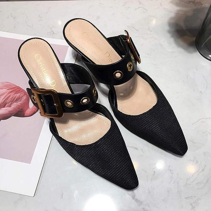 ae14b67d4f Amazon.com | Womens Sandal Shoes Dior Mule in Black Technical Canvas ...