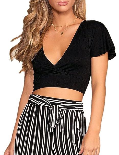 c9cb2b3763b5 HaoDian Womens Sexy Deep V Neck Crop Tops Short Sleeve Wrap Surplice Black  Tops at Amazon Women's Clothing store: