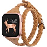 Glebo Bands Compatible for Compatible with Fitbit Versa 2/Versa/Versa Lite Edition,Slim Leather Double Wrap Around Bands Stra