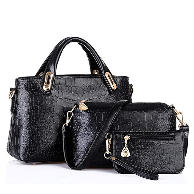 Amazon.com  Women Handbag HN Tote Purse Leather Messenger Hobo Bag (Black)   Clothing b7520626585da
