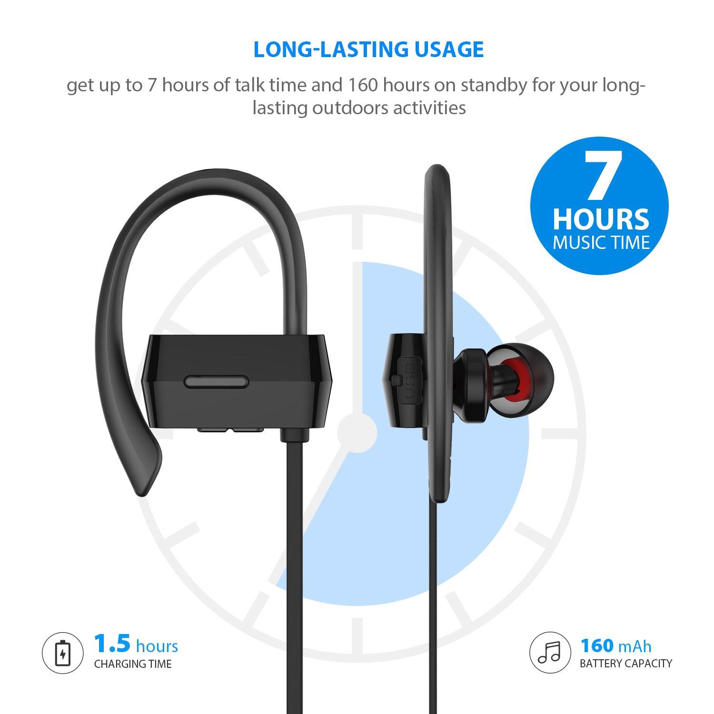 SoundPEATS Q23 - Auriculares inalámbricos Bluetoot, aislamiento de ruido, resistentes al sudor, adecuados para correr, con micrófono, para Android/iPhone 7 ...
