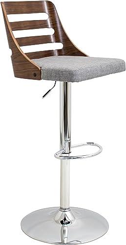 WOYBR Wood, Chrome, Polyester Fabric, Foam Trevi Barstool, 19.25 Lx17.5 Wx32.25-43.5 H, Grey