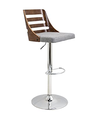 WOYBR BS-TRV WL GY Wood, Chrome, Polyester Fabric, Foam Trevi Barstool 19.25 Lx17.5 Wx32.25-43.5 H Grey