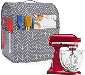 Yarwo Dust Cover for 4.5 qt and All 5 qt Stand Mixer, Cotton Canvas Protective Stand Mixer Cover with Top Handle and Pockets for Extra Accessories, chevron