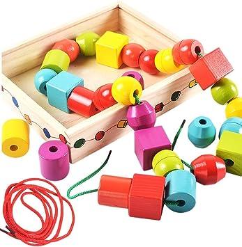 Lewo Perline in Legno di Grandi Dimensioni per Bambini Giocattoli educativi Montessori 30 Pezzi con 2 Corde