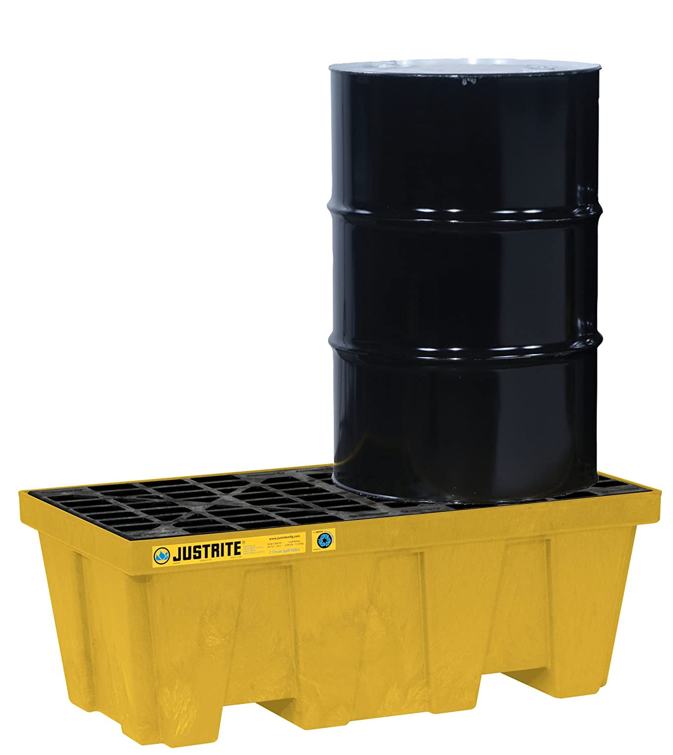 LXWXH 49x 25 x 18 Yellow 2 Drum Pallet Justrite 28624 EcoPolyBlend 66 Gallon Sump Capacity