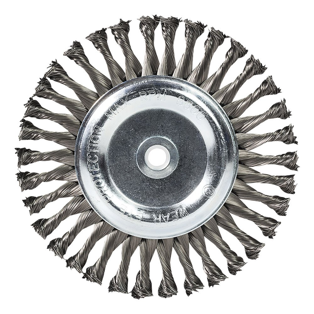 """Mercer Industries 184020 Knot Wire Wheel, 8"""" x 5/8"""" x (1/2"""", 5/8""""), For Bench/Pedestal Grinders"""