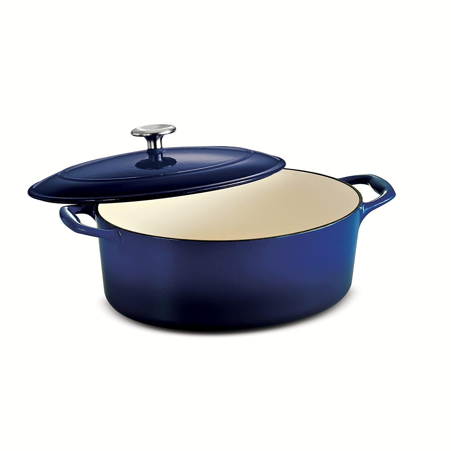 Tramontina 80131/077DS Gourmet Enameled Cast Iron Covered Oval Dutch Oven, 5.5-Quart, Gradated Cobalt