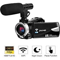Camcorder Camera with Microphone FHD 1080P 30 FPS 24.0 MP Video Camera Camcorders WiFi Night Vision Vlogging Camera 16X Digital Zoom HDMI Output