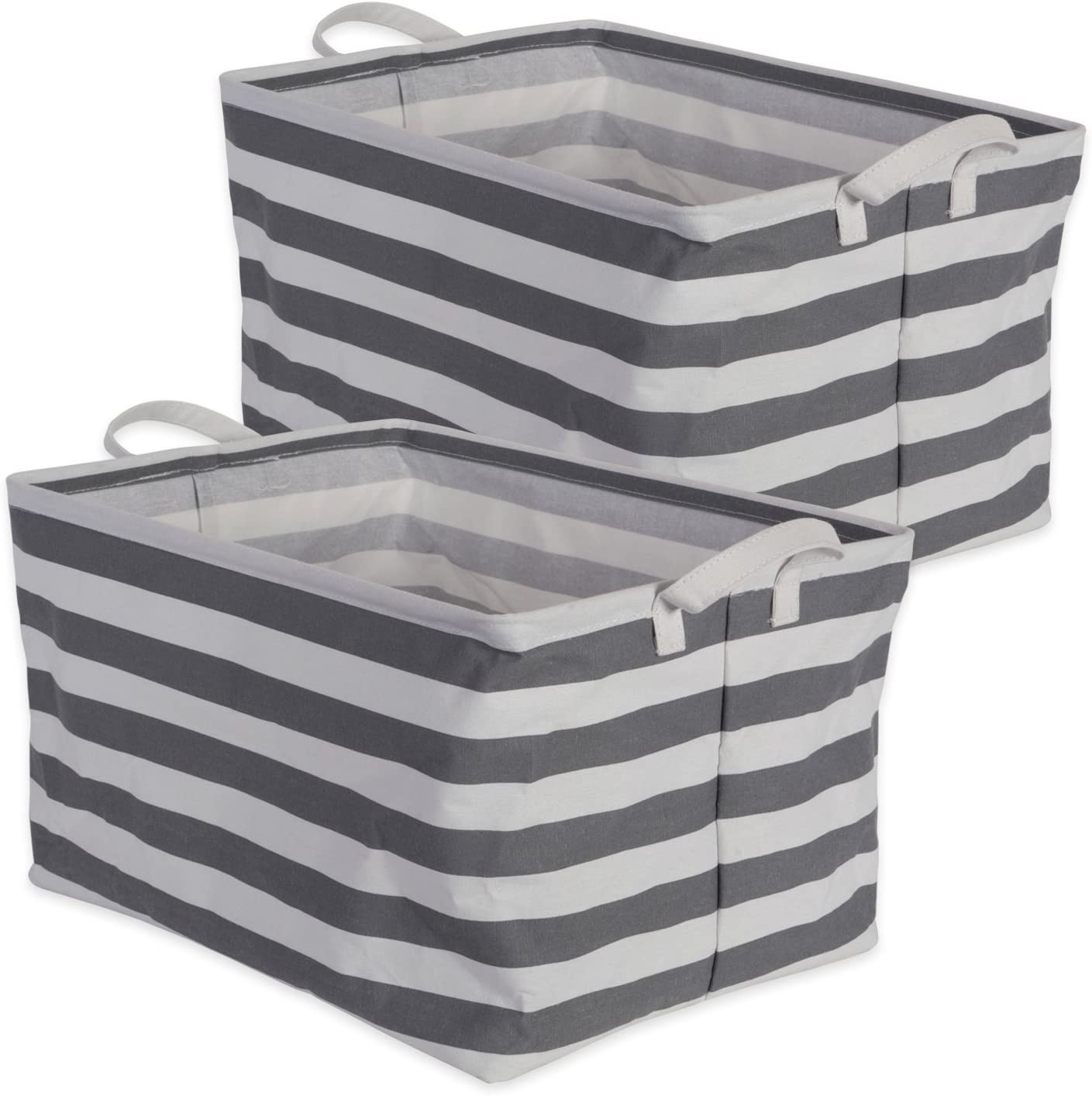 "DII Cotton/Polyester Cube Laundry Basket, Perfect In Your Bedroom, Nursery, Dorm, Closet, 10.5 x 17.5 x 10"", Large Set of 2 - Gray Rugby Stripe"