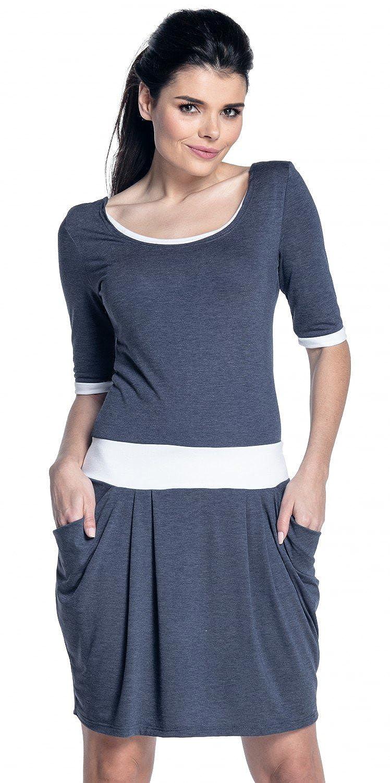 Zeta Ville - Women's nursing dress pockets contrast details layered neck - 698c breastfeed_dress_698
