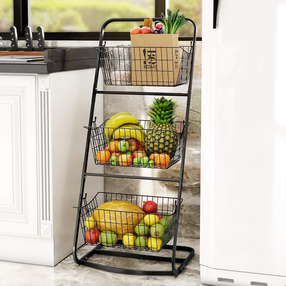 3 Tier Market Basket,Storage Basket Organizer, Fruit Vegetable Produce Metal Hanging Storage Bin for Kitchen,Bathroom Tower Baskets,Antique Black (3 tier market basket)