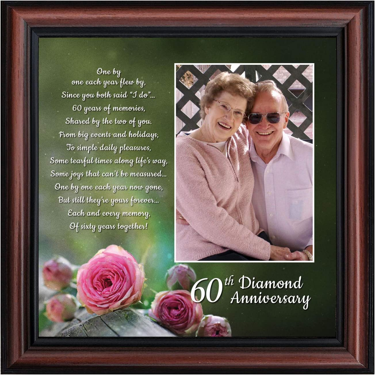 Crossroads Home Décor 60th, Diamond 60th Wedding Anniversary Grandparents Gifts, for Grandparents, 60th Anniversary Card for Parents, Picture Frame for Couples, 6310W