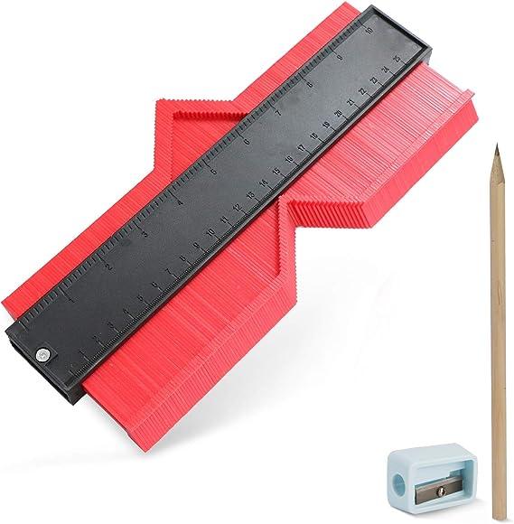 Medidor de contornos, Calibrador de contorno, medidor de perfil de 10 inch Regla de medida Duplicadora de contorno de regla para medición precisa en madera laminada Herramienta de marcado de madera: Amazon.es:
