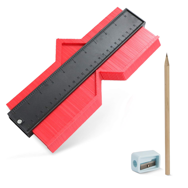 10 inch Contour Gauge Plastic Profile Gauge Multifunctional Shape Duplicator Edge Shaping Measure Ruler for Professional Precise Measurement