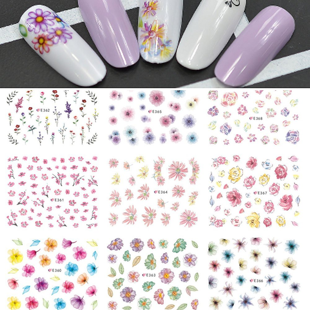 11 Designs/lot Fashion Adhesive Glue Tips DIY Nail Art 3d Colorful Flowers Stickers Makeup Salon Women Beauty Tools