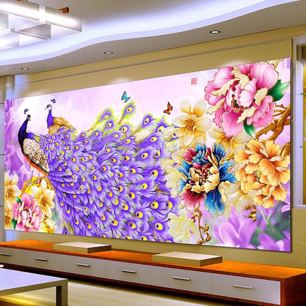 Yazierstyuor 5D Peacock Flower Diamond Embroidery Painting Cross Stitch DIY Craft Home Decor