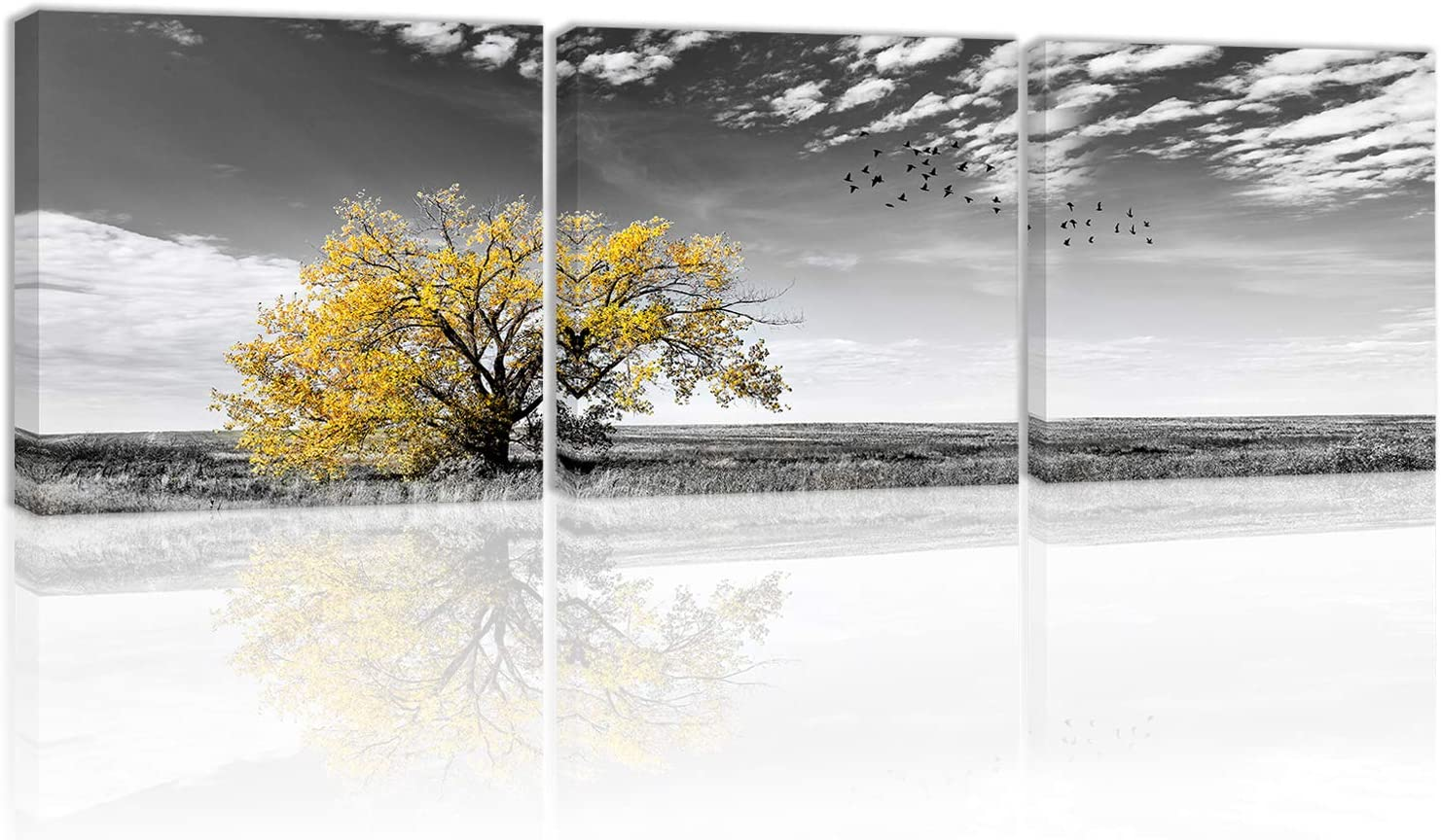 Black and White Yellow Autumn Tree Wall Art Decor Canvas Painting Kitchen Prints Pictures for Home Living Dining Room