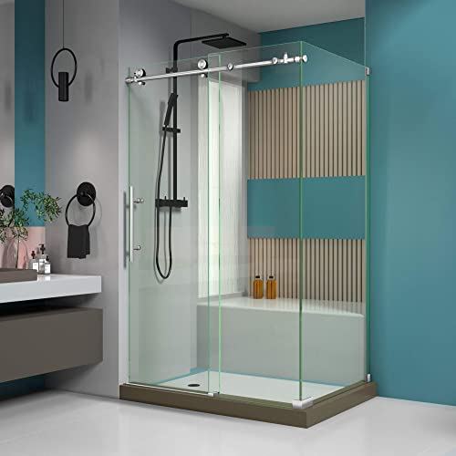 DreamLine Enigma-X 34 1 2 in. D x 48 3 8 in. W x 76 in. H Fully Frameless Sliding Shower Enclosure in Brushed Stainless Steel, SHEN-6134480-07