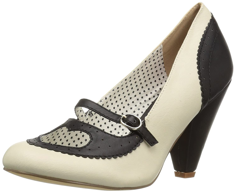 Pin Up Couture Poppy-18, Zapatos de Tacón con Punta Cerrada para Mujer 38 EU|Negro (Black-cream Faux Leather B-crpu)